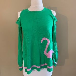 green and pink flamingo cold shoulder sweater